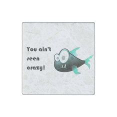 Crazy Green Fish Piranha Cartoon Stone Magnet at Zazzle