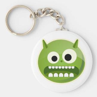 Crazy Green Monster Face Basic Round Button Keychain