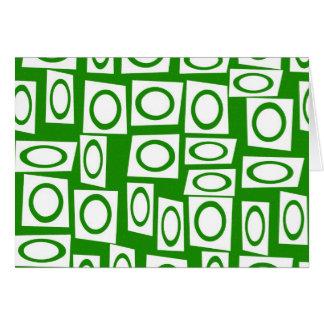 Crazy Green White Fun Circle Square Pattern Card