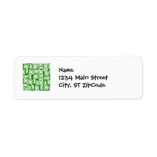 Crazy Green White Fun Circle Square Pattern Label