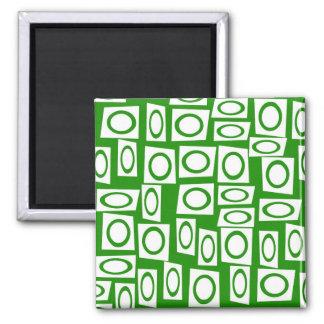 Crazy Green White Fun Circle Square Pattern Magnet