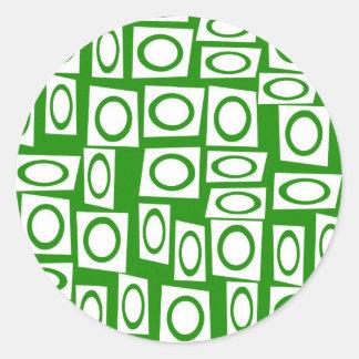 Crazy Green White Fun Circle Square Pattern Round Sticker