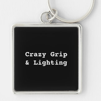 Crazy Grip Silver-Colored Square Keychain