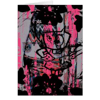 Crazy grunge graffiti postcard