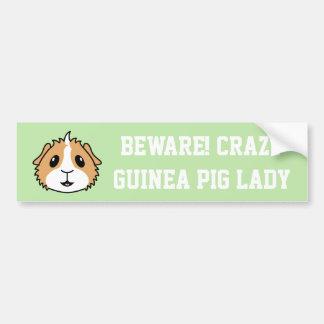 Crazy Guinea Pig Woman Car Bumper Sticker
