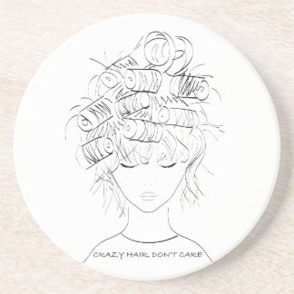 Crazy Hair, Don't Care Drink Coaster