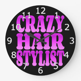 Crazy Hair Stylist Large Clock