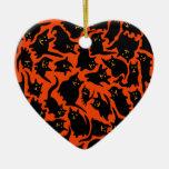 Crazy Halloween Cats Ornament (Heart)