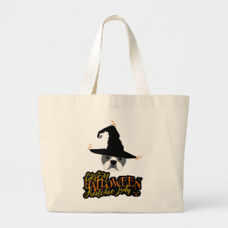 Crazy Halloween Frenchie Lady French Bulldog Mom Large Tote Bag