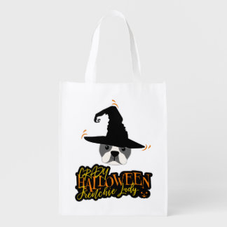 Crazy Halloween Frenchie Lady French Bulldog Mom Reusable Grocery Bag