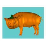 Crazy Halloween Pig Postcard