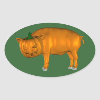 Crazy Halloween Pig Oval Stickers