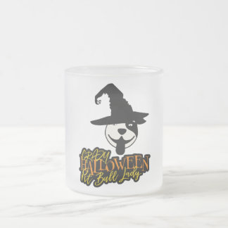 Crazy Halloween Pit Bull Lady Pit Bull Mom Frosted Glass Coffee Mug