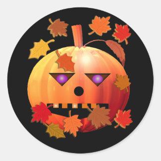 Crazy Halloween Pumpkin Classic Round Sticker