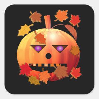 Crazy Halloween Pumpkin Square Sticker
