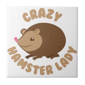crazy hamster lady tile