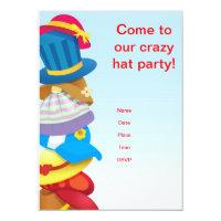 Hat invitations announcements zazzle crazy hat party 45 x 625 invitations stopboris Image collections