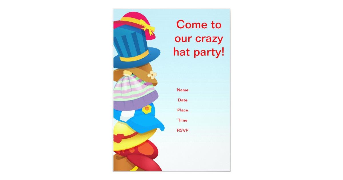 Crazy hat party invitation | Zazzle.com