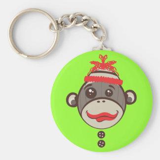 Crazy Hat Sock Monkey Keychain