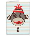 Crazy Hat Sock Monkey Thank You Card