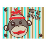 Crazy Hat Sock Monkey You're Invited  Postcard