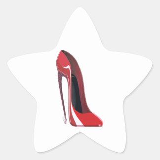 Crazy heel red stiletto shoe art star sticker