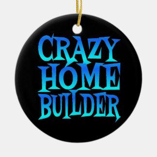 Crazy Home Builder in Blue Ceramic Ornament