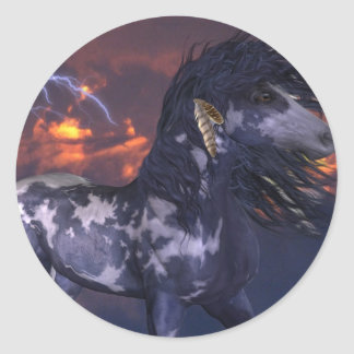 Crazy Horse Blue Classic Round Sticker