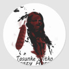 crazy-horse feather classic round sticker