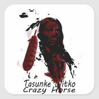 crazy-horse feather square sticker