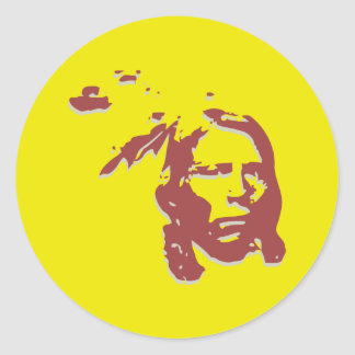 crazy horse indian face classic round sticker