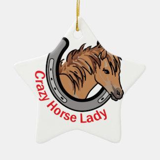 Crazy Horse Lady Ceramic Ornament