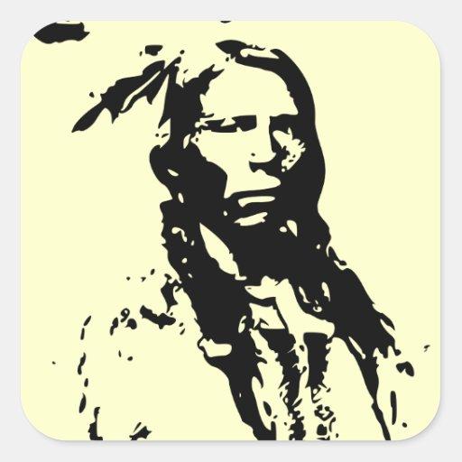 Crazy Horse Native American Square Sticker