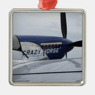 Crazy Horse Square Metal Christmas Ornament