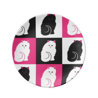 Crazy Hot Pink Kitty Cat Pattern Dinner Plate