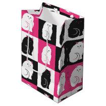 Crazy Hot Pink Kitty Cat Pattern Medium Gift Bag