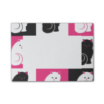 Crazy Hot Pink Kitty Cat Pattern Post-it Notes