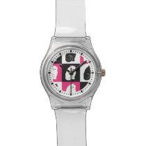 Crazy Hot Pink Kitty Cat Pattern Watch