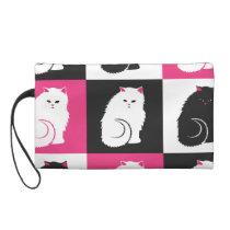 Crazy Hot Pink Kitty Cat Pattern Wristlet Purse
