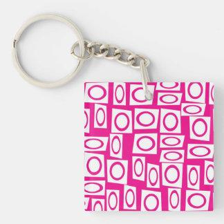 Crazy Hot Pink White Fun Circle Square Pattern Keychain