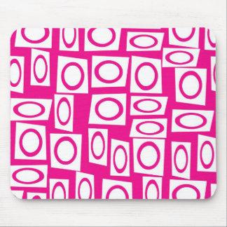 Crazy Hot Pink White Fun Circle Square Pattern Mouse Pad
