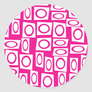 Crazy Hot Pink White Fun Circle Square Pattern Round Stickers