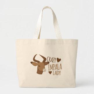 crazy impala lady large tote bag