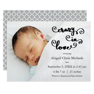 Crazy in Love - 3x5 Birth Announcement