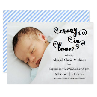 Crazy in Love Blue - 3x5 Birth Announcement
