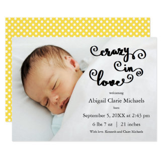 Crazy in Love Yellow - 3x5 Birth Announcement