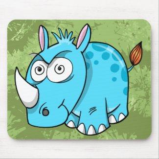 Crazy Insane Blue Rhinoceros Mouse Pod mousepad