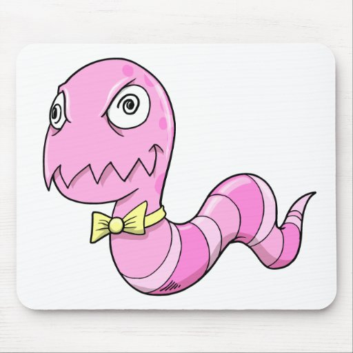 Crazy Insane Pink Worm Mouse Pad