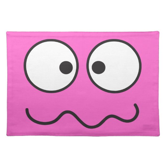 Crazy insane smiley face cross eyed cloth placemat