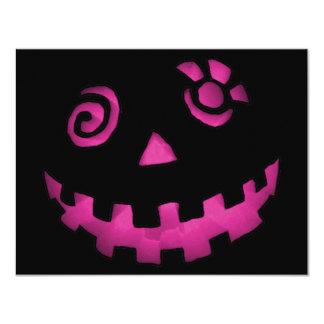 Crazy Jack O Lantern Pink Pumpkin Face Invitations